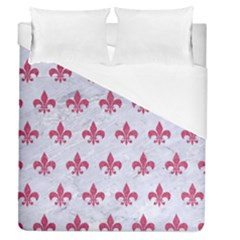 ROYAL1 WHITE MARBLE & PINK DENIM Duvet Cover (Queen Size)