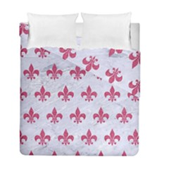 ROYAL1 WHITE MARBLE & PINK DENIM Duvet Cover Double Side (Full/ Double Size)