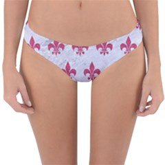 ROYAL1 WHITE MARBLE & PINK DENIM Reversible Hipster Bikini Bottoms