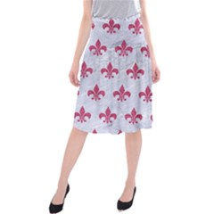 ROYAL1 WHITE MARBLE & PINK DENIM Midi Beach Skirt