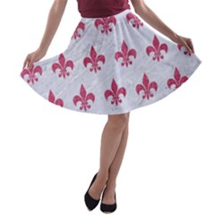 Royal1 White Marble & Pink Denim A Line Skater Skirt