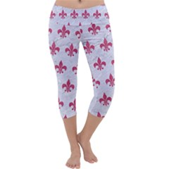 ROYAL1 WHITE MARBLE & PINK DENIM Capri Yoga Leggings