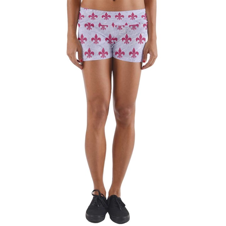 ROYAL1 WHITE MARBLE & PINK DENIM Yoga Shorts