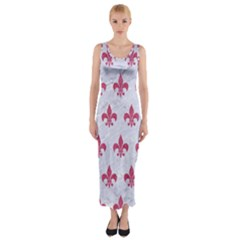 ROYAL1 WHITE MARBLE & PINK DENIM Fitted Maxi Dress