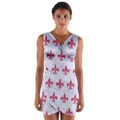 ROYAL1 WHITE MARBLE & PINK DENIM Wrap Front Bodycon Dress