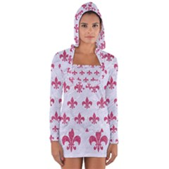 ROYAL1 WHITE MARBLE & PINK DENIM Long Sleeve Hooded T-shirt