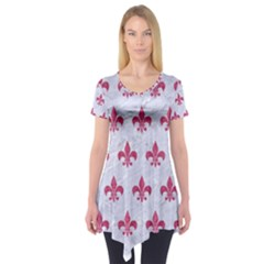 ROYAL1 WHITE MARBLE & PINK DENIM Short Sleeve Tunic