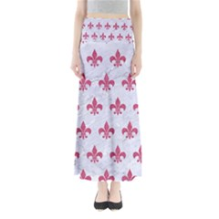 ROYAL1 WHITE MARBLE & PINK DENIM Full Length Maxi Skirt