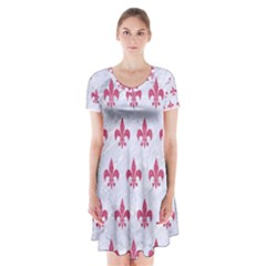 ROYAL1 WHITE MARBLE & PINK DENIM Short Sleeve V-neck Flare Dress