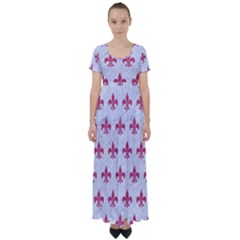 ROYAL1 WHITE MARBLE & PINK DENIM High Waist Short Sleeve Maxi Dress