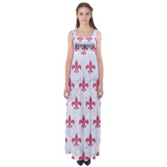 ROYAL1 WHITE MARBLE & PINK DENIM Empire Waist Maxi Dress
