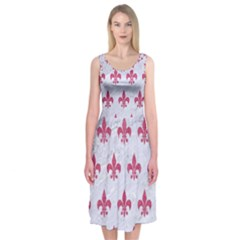 ROYAL1 WHITE MARBLE & PINK DENIM Midi Sleeveless Dress