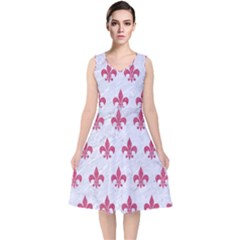 Royal1 White Marble & Pink Denim V Neck Midi Sleeveless Dress