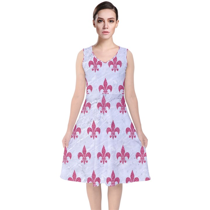 ROYAL1 WHITE MARBLE & PINK DENIM V-Neck Midi Sleeveless Dress
