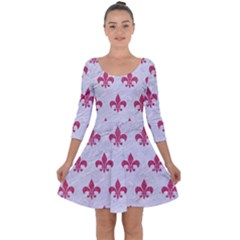 ROYAL1 WHITE MARBLE & PINK DENIM Quarter Sleeve Skater Dress