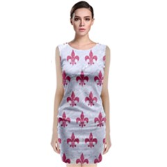 Royal1 White Marble & Pink Denim Classic Sleeveless Midi Dress
