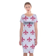 ROYAL1 WHITE MARBLE & PINK DENIM Classic Short Sleeve Midi Dress