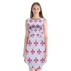 ROYAL1 WHITE MARBLE & PINK DENIM Sleeveless Chiffon Dress