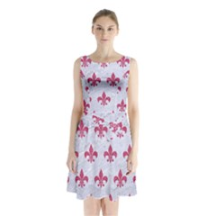 ROYAL1 WHITE MARBLE & PINK DENIM Sleeveless Waist Tie Chiffon Dress
