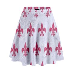 ROYAL1 WHITE MARBLE & PINK DENIM High Waist Skirt
