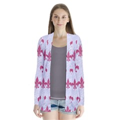 ROYAL1 WHITE MARBLE & PINK DENIM Drape Collar Cardigan
