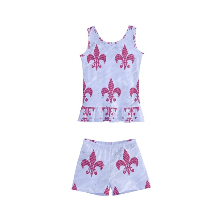 ROYAL1 WHITE MARBLE & PINK DENIM Kid s Boyleg Swimsuit