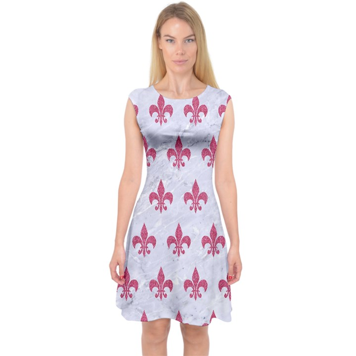 ROYAL1 WHITE MARBLE & PINK DENIM Capsleeve Midi Dress