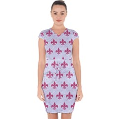 ROYAL1 WHITE MARBLE & PINK DENIM Capsleeve Drawstring Dress
