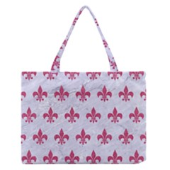 ROYAL1 WHITE MARBLE & PINK DENIM Zipper Medium Tote Bag