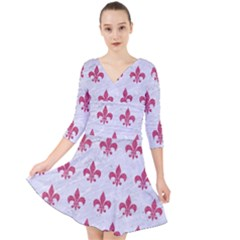 ROYAL1 WHITE MARBLE & PINK DENIM Quarter Sleeve Front Wrap Dress