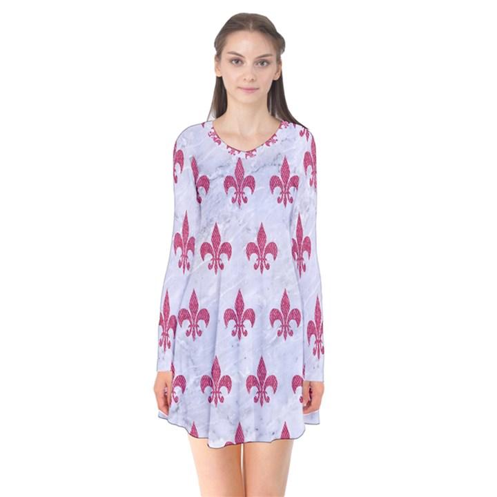 ROYAL1 WHITE MARBLE & PINK DENIM Flare Dress