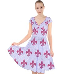ROYAL1 WHITE MARBLE & PINK DENIM Cap Sleeve Front Wrap Midi Dress