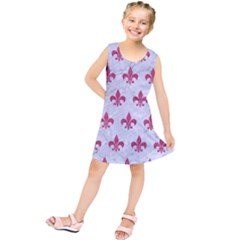 ROYAL1 WHITE MARBLE & PINK DENIM Kids  Tunic Dress