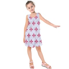 ROYAL1 WHITE MARBLE & PINK DENIM Kids  Sleeveless Dress