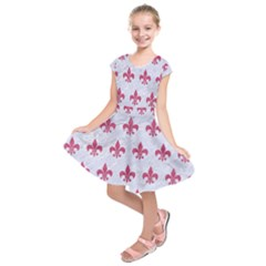 ROYAL1 WHITE MARBLE & PINK DENIM Kids  Short Sleeve Dress