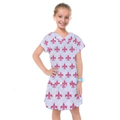 ROYAL1 WHITE MARBLE & PINK DENIM Kids  Drop Waist Dress