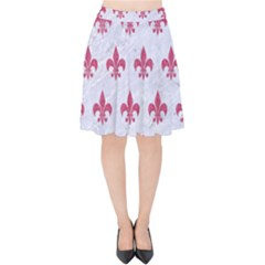 ROYAL1 WHITE MARBLE & PINK DENIM Velvet High Waist Skirt