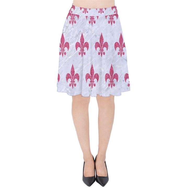 ROYAL1 WHITE MARBLE & PINK DENIM Velvet High Waist Skirt