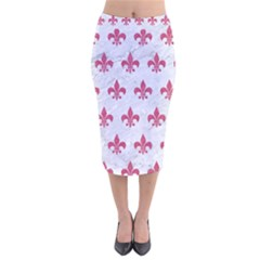 ROYAL1 WHITE MARBLE & PINK DENIM Velvet Midi Pencil Skirt