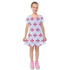 ROYAL1 WHITE MARBLE & PINK DENIM Kids  Short Sleeve Velvet Dress