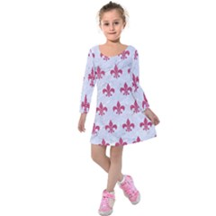 ROYAL1 WHITE MARBLE & PINK DENIM Kids  Long Sleeve Velvet Dress