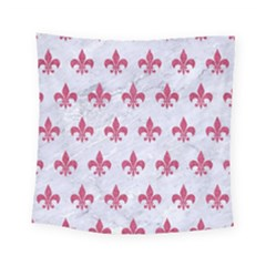 ROYAL1 WHITE MARBLE & PINK DENIM Square Tapestry (Small)