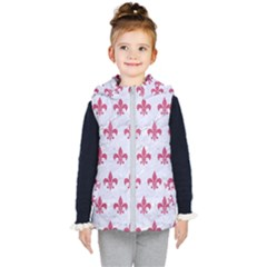 ROYAL1 WHITE MARBLE & PINK DENIM Kid s Hooded Puffer Vest