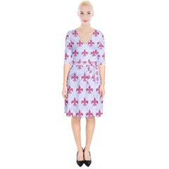 ROYAL1 WHITE MARBLE & PINK DENIM Wrap Up Cocktail Dress