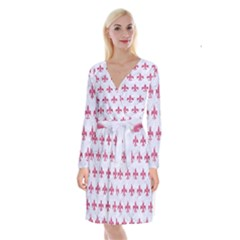 ROYAL1 WHITE MARBLE & PINK DENIM Long Sleeve Velvet Front Wrap Dress