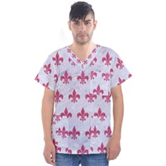 ROYAL1 WHITE MARBLE & PINK DENIM Men s V-Neck Scrub Top