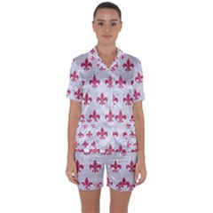 ROYAL1 WHITE MARBLE & PINK DENIM Satin Short Sleeve Pyjamas Set