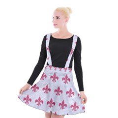 ROYAL1 WHITE MARBLE & PINK DENIM Suspender Skater Skirt
