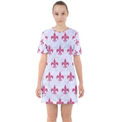 ROYAL1 WHITE MARBLE & PINK DENIM Sixties Short Sleeve Mini Dress