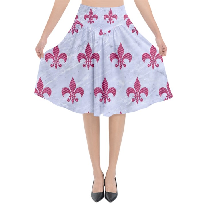 ROYAL1 WHITE MARBLE & PINK DENIM Flared Midi Skirt